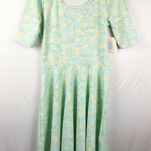 LulaRoe Nicole Dress Size M/Medium green/yellow